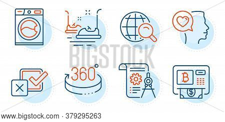 Bumper Cars, Romantic Talk And Checkbox Signs. Washing Machine, Divider Document And 360 Degrees Lin