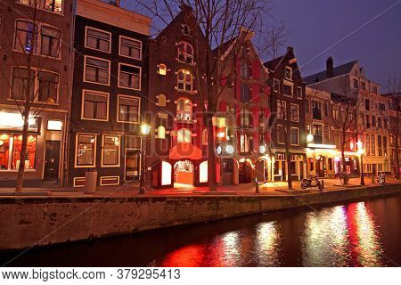 Red light district in Amsterdam the Netherlands by night