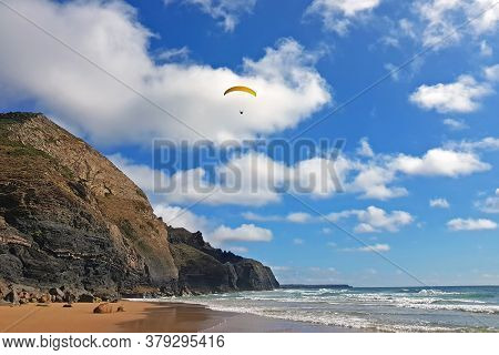 Para gliding at the west coast in Portugal