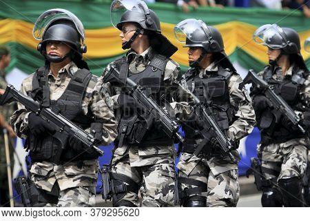 Salvador, Bahia / Brazil - September 7, 2014: Member Of The Shock Battalion Of The Bahia Military Po