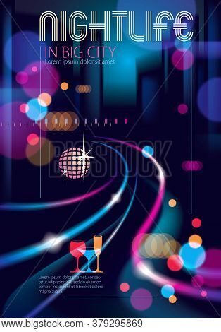 Night City Life With Street Lamps And Bokeh Blurred Lights. Effect Vector Beautiful Background. Blur