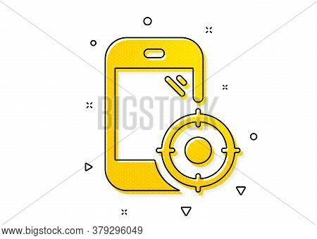 Smartphone Targeting Sign. Seo Phone Icon. Traffic Management Symbol. Yellow Circles Pattern. Classi