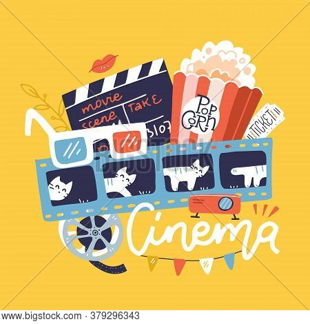 Cinema Sign With Icons Set. Vector Flat Doodle Bright Hand Drawn Illustration. Cinematograph Concept