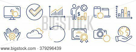 Set Of Science Icons, Such As Graph, Diagram Graph. Certificate, Save Planet. Employee Hand, Employe
