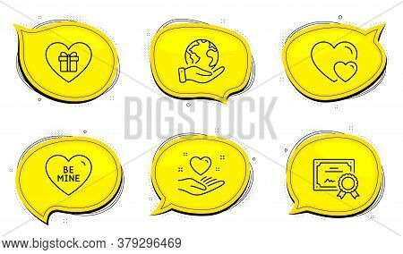 Hearts Sign. Diploma Certificate, Save Planet Chat Bubbles. Be Mine, Hold Heart And Romantic Gift Li