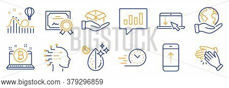 Set Of Business Icons, Such As Analytical Chat, Dirty Water. Certificate, Save Planet. Scroll Down,