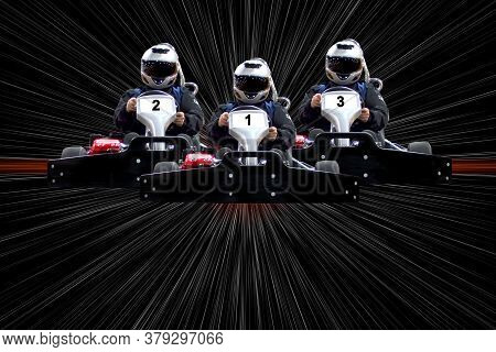 Go Kart Indoor, Cart Racing Fast, Car Where Gokarting, We Speed Racing, Racers Banner. Copy Space. T
