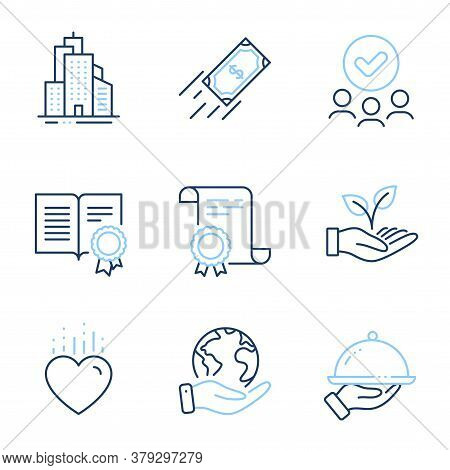 Helping Hand, Heart And Restaurant Food Line Icons Set. Diploma Certificate, Save Planet, Group Of P