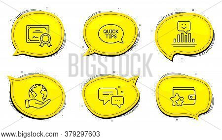 Employees Messenger Sign. Diploma Certificate, Save Planet Chat Bubbles. Loyalty Program, Smile And