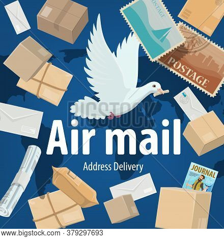 Air Mail Service, Freight And Parcels Delivery Vector Poster. Cartoon White Dove On World Map Backgr