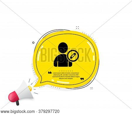 Edit User Icon. Quote Speech Bubble. Profile Avatar With Pencil Sign. Person Silhouette Symbol. Quot