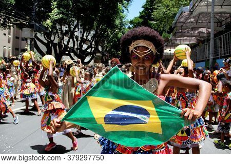 Salvador, Bahia / Brazil - March 3, 2014: Members Of Percussion Band Dida Are Seen During A Performa