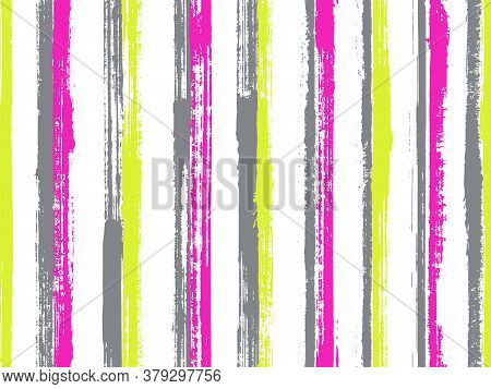 Pain Freehand Straight Lines Vector Seamless Pattern. Pretty Cotton Fabric Print Design. Scratchy Te