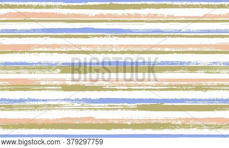 Watercolor Freehand Parallel Lines Vector Seamless Pattern. Elegant Swimwear Marine Design. Scratchy