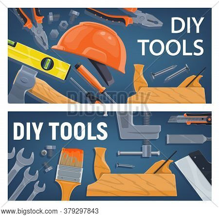 Diy And Construction, Woodworking Tools Vector. Pliers And Wrench, Bulb Level And Ax, Screwdriver, H