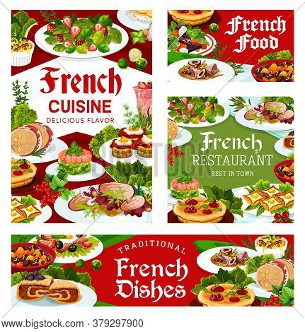 France Cuisine Vector Old Time Marmite Soup, Salad With Beet And Goat Cheese, Dob Beef And Pork Ham,