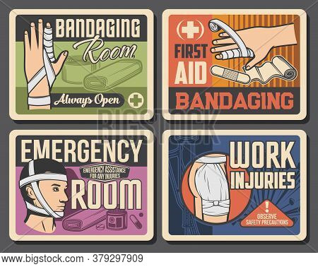 Bandage, Emergency Room Medicine Retro Vector Posters. Trauma Of Finger, Head And Buttocks First Aid