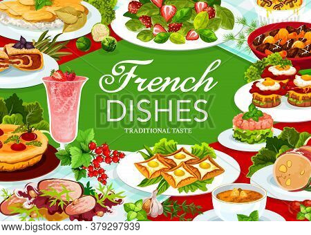 France Cuisine Vector Dob Beef And Pork Ham, Cabbage Stuffed With Meat, Quiche With Tomatoes. Sandwi