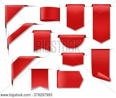 Sale Banners, Labels, Ribbon Price Tags And Stickers, Vector Red Discount Offer Badges. 3d Sale Bann
