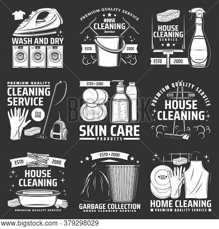 Laundry, House Cleaning Icons. Vector Washing Machine, Vacuum Cleaner And Rubber Gloves, Litter Bin,