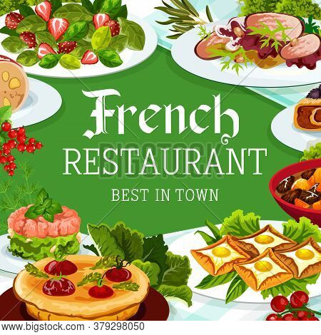 French Cuisine, Vector France Meals Dob Beef And Pork Ham, Breton Pancakes, Cabbage Stuffed With Mea