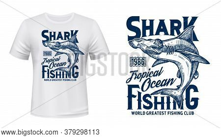 T-shirt Print With Hammer Head Shark, Vector Mascot For Fishing Or Diving Club, Sketch Sea Predator