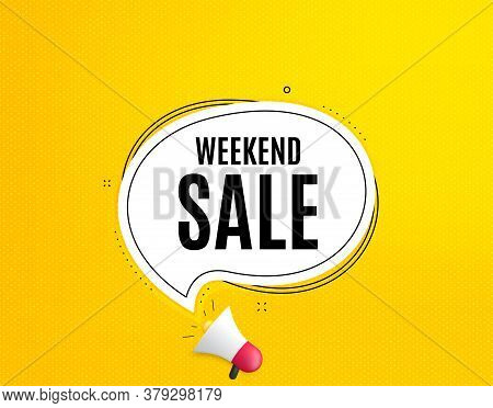 Weekend Sale. Megaphone Banner With Chat Bubble. Special Offer Price Sign. Advertising Discounts Sym
