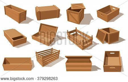Wooden Boxes, Vector Parcels For Goods Packaging Isolated Pallets And Empty Transportation Container