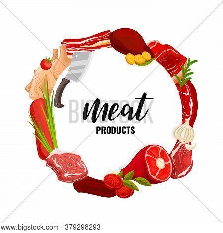 Butcher Shop Vector Veal, Beef And Pork, Chicken, Lard And Mutton. Raw Meat Assortment Beef Steak, P