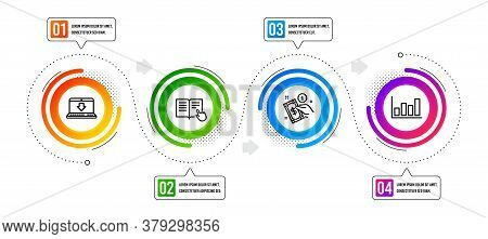 Report Diagram, Read Instruction And Internet Downloading Line Icons Set. Infographic Timeline. Paym