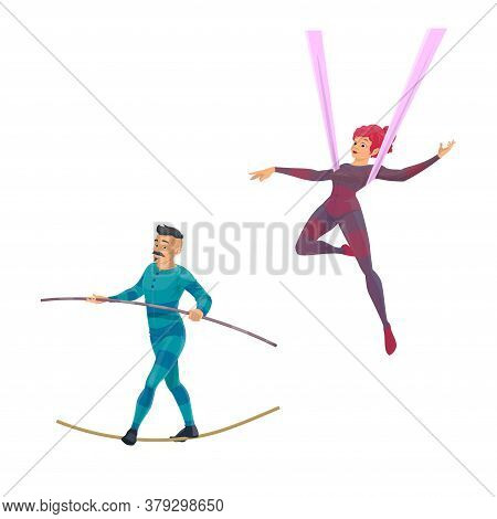 Big Top Tent Circus Gymnast And Balancer Vector Characters. Cartoon Air Acrobatics Woman Shows A Per