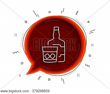 Whiskey Glass With Ice Cubes Line Icon. Chat Bubble With Shadow. Scotch Alcohol Sign. Thin Line Whis
