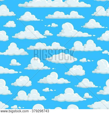 Cloudy Sky Seamless Pattern, Clouds Background Wallpaper. Clouds Pattern On Abstract Blue Sky Backgr