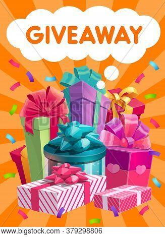 Giveaway Gifts Vector Promo, Social Network Advertising. Presents, Like Or Repost Giving In Social M