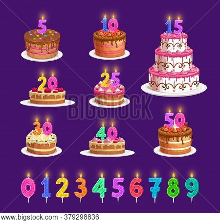 Candles On Birthday Cake With Number Age, Vector Celebration Party Icons. Happy Birthday Cupcake And