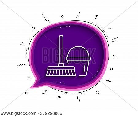 Cleaning Bucket With Mop Line Icon. Chat Bubble With Shadow. Washing Housekeeping Equipment Sign. Th