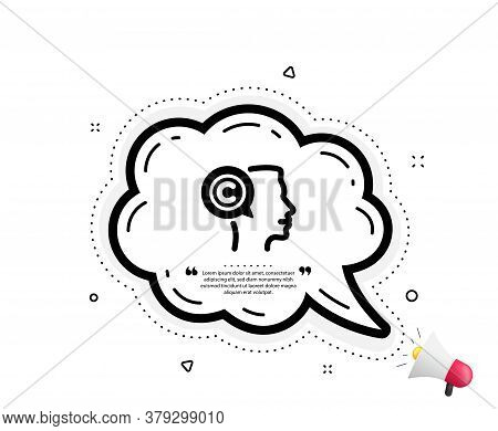Copyrighter Icon. Quote Speech Bubble. Writer Person Sign. Copywriting Symbol. Quotation Marks. Clas