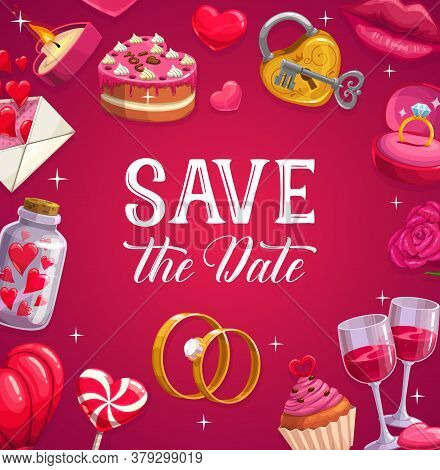 Wedding Poster, Marriage Vector Card. Cartoon Festive Cake, Lollipop, Hearts And Engagement Rings. W