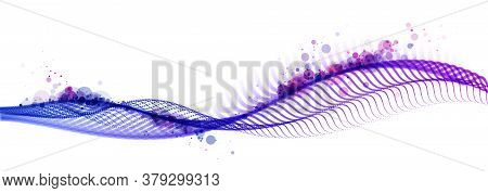 Abstract Wave Flow Of Runny Dotted Particles Vector Abstract Background, Technology And Science Big