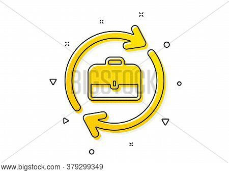 Portfolio Case Or Job Interview Sign. Business Recruitment Icon. Yellow Circles Pattern. Classic Hum