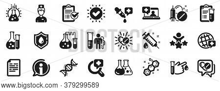 Drug Testing, Scientific Discovery And Disease Prevention Signs. Medical Healthcare, Doctor Icons. C