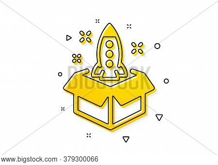 Launch Project Sign. Startup Icon. Out Of The Box Symbol. Yellow Circles Pattern. Classic Startup Ic