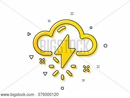Thunderbolt With Cloud Sign. Thunderstorm Weather Icon. Bad Day Symbol. Yellow Circles Pattern. Clas