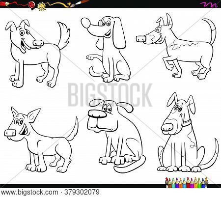 Black And White Cartoon Illustration Of Funny Dogs And Puppies Comic Animal Characters Set Coloring