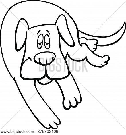 Black And White Cartoon Illustration Of Funny Sleepy Dog Comic Animal Character Coloring Book Page