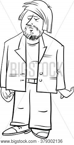 Black And White Cartoon Illustration Of Man Funny Comic Character In Jacket Coloring Book Page