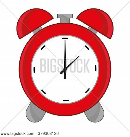 Red Alarm Clock Icon. Classic Timer - Vector