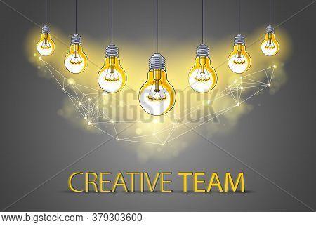 Creative Team Concept, Group Of Five Shining Light Bulbs Represents Idea Of Creative People Teamwork