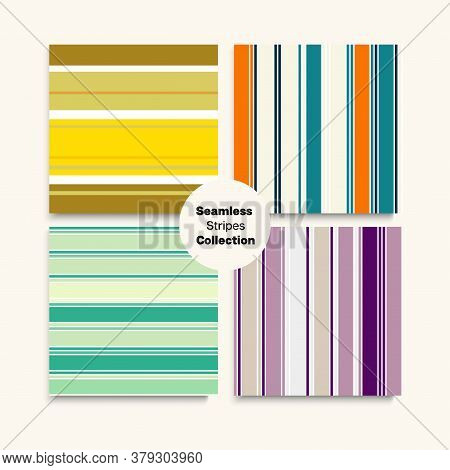 Sailor Stripes Seamless Design Set. Male Childrens Female Seamless Stripes Texture. Retro Fashion Ba
