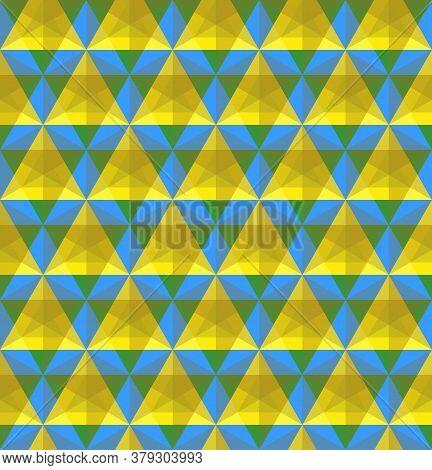 Triangular Blue And Yellow Geometric Seamless Pattern Vector Illustration